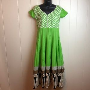 Vintage Green Boho Rockabilly Fit & Flare Dress
